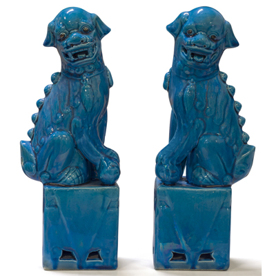 Dark Blue Porcelain Foo Dog Chinese Figurine Set