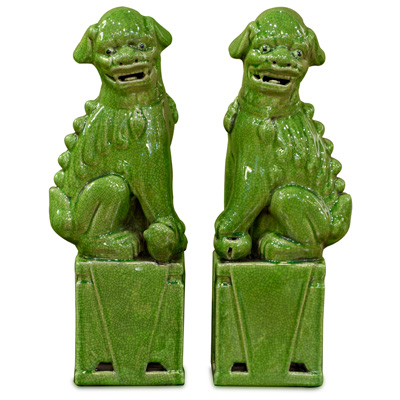 Lime Green Porcelain Foo Dog Set