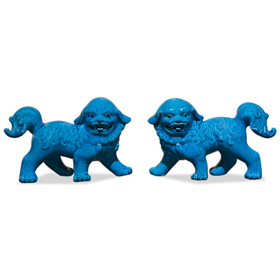 Blue Porcelain Standing Foo Dog Set