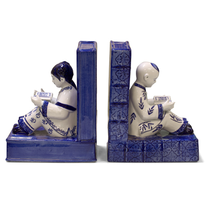 Blue and White Porcelain Reading Boy and Girl Bookends