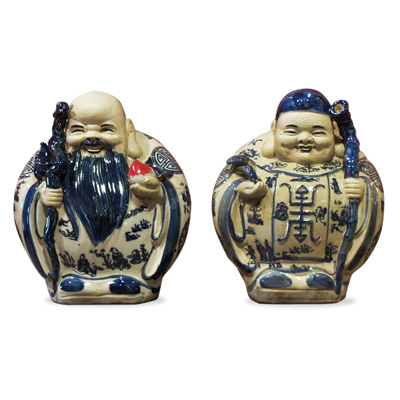 Blue and White Porcelain Gods of Longevity Set