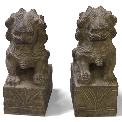 10 Inch Stone Chinese Foo Dog Statue Set