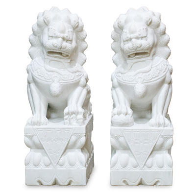 Marble Imperial Palace Foo Dog Entry Statue Set