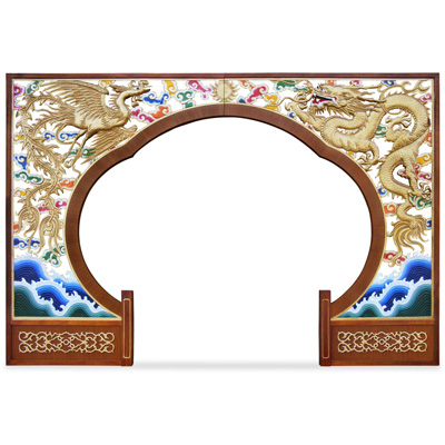 Wooden Dragon and Phoenix Motif Moon Entryway Gate