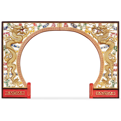 Wooden Dragon Motif Moon Entryway Gate
