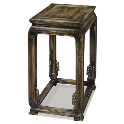 Distressed Elmwood Ming Imperial Palace End Table