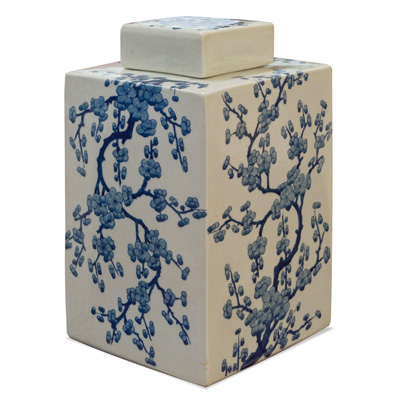 Blue and White Cherry Blossom Porcelain Tea Jar