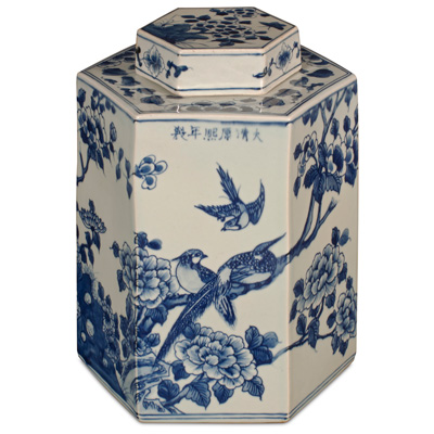 Blue and White Qing Dynasty Porcelain Tea Jar