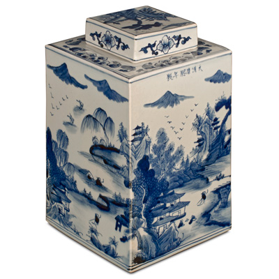 Blue and White Porcelain Scenery Tea Jar