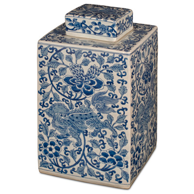 Blue and White Porcelain Lotus Tea Jar