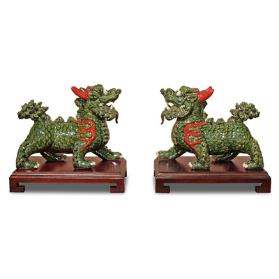Green Porcelain Regal Kirin Oriental Figurine Set