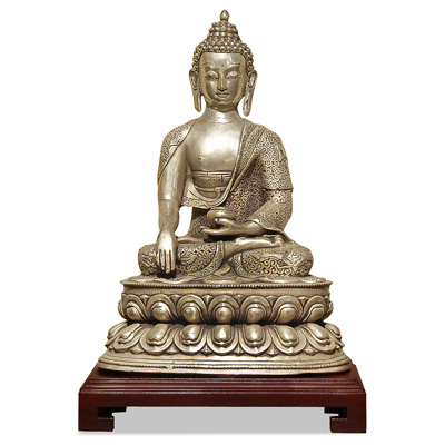 Silver Plated Meditating Buddha Statue Asian Figurine