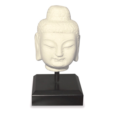Small White Marble Enlightened Buddha Head