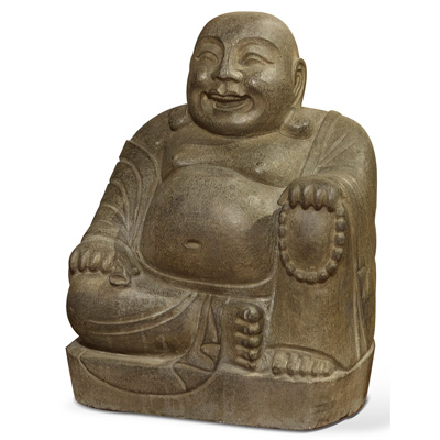 Stone Happy Buddha Sitting with Beads