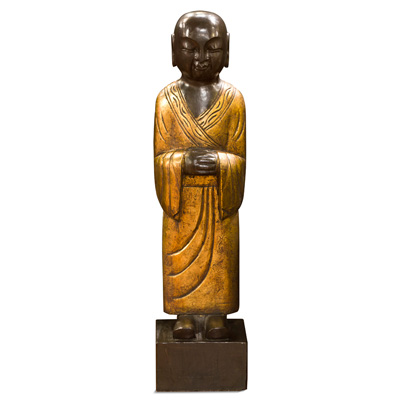 Gilded Stone Tranquility Monk Chinese Statue