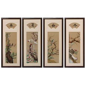 Silk Embroidery of Colorful Four Season Flowers and Birds Set