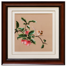 Chinese Silk Embroidery Wall Art of Bird on a Peach Branch