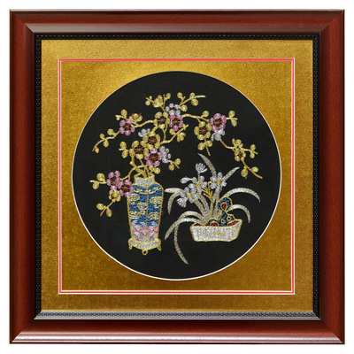 Silk Embroidery of Cherry Blossom and Orchid