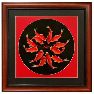Silk Embroidery of Red Koi Fish