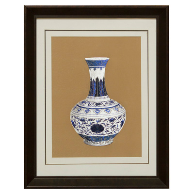 Chinese Silk Embroidery of Blue and White Ming Vase