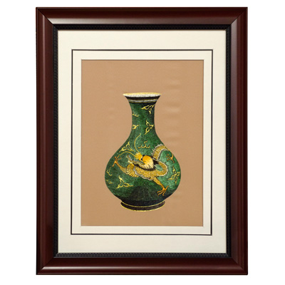 Silk Embroidery of Imperial Dragon Vase