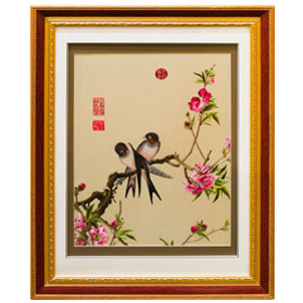 Chinese Silk Embroidery of Cherry Blossom and Birds