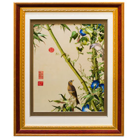 Silk Embroidery of Finches and Bamboo