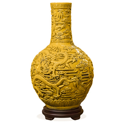 Yellow Porcelain Imperial Dragon Temple Vase
