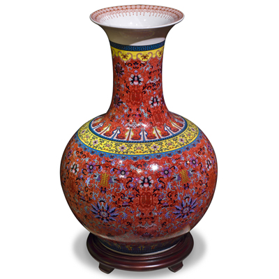 Imperial Red Chinese Porcelain Temple Vase