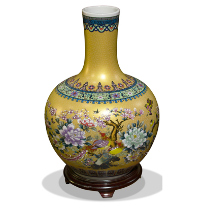 Gold Flower and Birds Chinese Porcelain Temple Vase