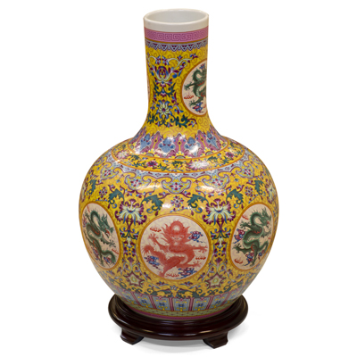Yellow Dragon Imperial Chinese Porcelain Temple Vase