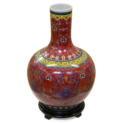Red Imperial Chinese Porcelain Temple Vase