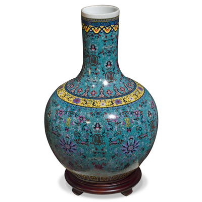 Dark Teal Blue Imperial Chinese Porcelain Temple Vase