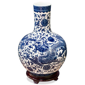 Blue and White Dragon Imperial Chinese Porcelain Temple Vase