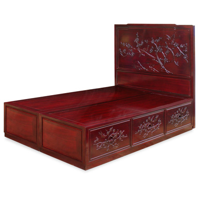 Dark Cherry Rosewood Flower and Bird Full Size Platform Bed with Drawers