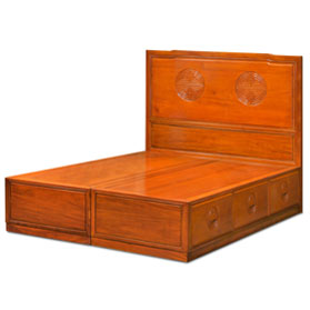 Natural Finish Rosewood Queen Size Longevity Platform Bed with Drawers