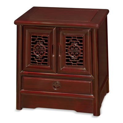 Dark Cherry Rosewood Chinese Ming Nightstand