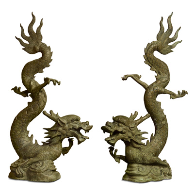 Bronze Flying Prosperity Dragon Oriental Statue Set