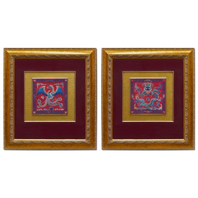 Chinese Silk Embroidery of Dragon and Phoenix Shadow Box Set