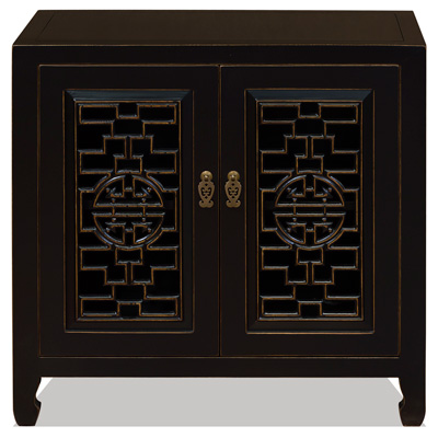 Black Distressed Elmwood Chinese Longevity Cabinet with Geometric Lattice Doors
