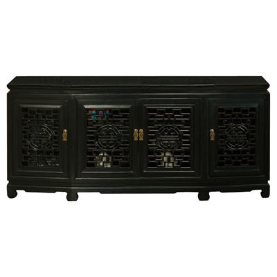 Black Elmwood Longevity Sideboard with Geometric Lattice Doors