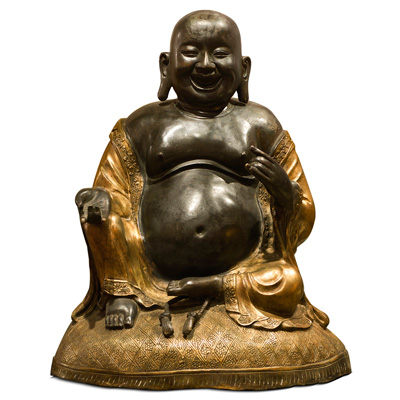 Bronze Sitting Happy Buddha with Gilded Robe