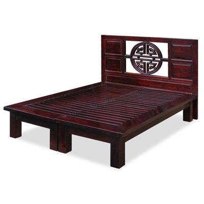Dark Cherry Elmwood Yuan Yuan Queen Size Chinese Platform Bed