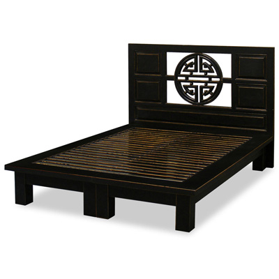 Distressed Black Elmwood Yuan Yuan Queen Size Chinese Platform Bed