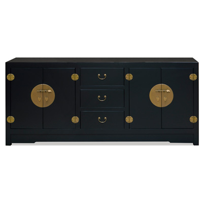 Matte Black Elmwood Chinese Ming Sideboard with Assorted Compartments