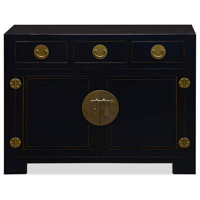 Matte Black Elmwood Ming Cabinet with Assorted Compartments