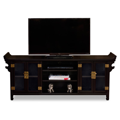 Matte Black Elmwood Altar Media Cabinet