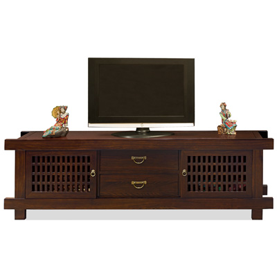 Mahogany Finish Elmwood Japanese Shinto Media Cabinet