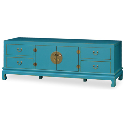 Blue Elmwood Chinese Kang Media Cabinet