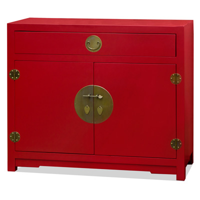 Matte Red Elmwood Chinese Ming Cabinet
